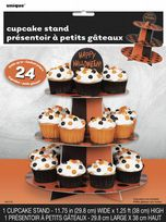 3 Tier Orange & Black Polka Dot Cupcake Stand